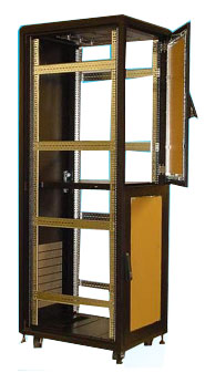 "42U Cabinet w/2 x front door, 23.5x35.5x84""(h), Black only, 305 lbs"